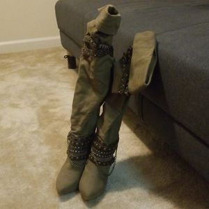 Size 8.5 olive green over-the-knee boots